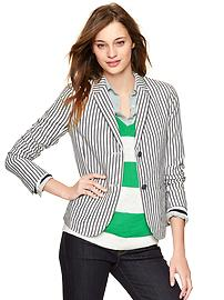 Striped washed linen blazer
