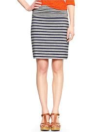 Striped foldover pencil skirt