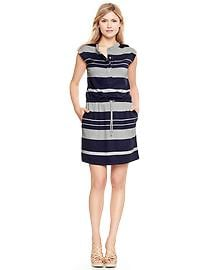 Drop-waist striped jersey shirtdress