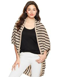 Striped cocoon open cardigan