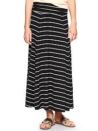 Striped foldover maxi skirt