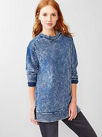 Washed zip sweatshirt tunic