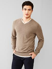Cotton slub V-neck sweater