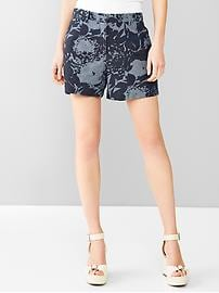 Tailored chambray floral shorts
