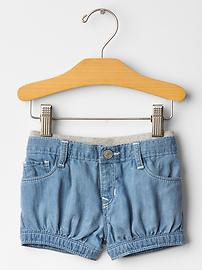 Pull-on denim bubble shorts