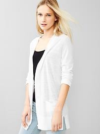 V-neck side-slit cardigan