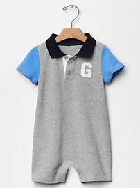 Colorblock logo polo one-piece