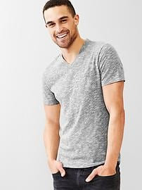 Beach slub V-neck t-shirt