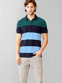 Engineered stripe pique polo