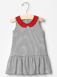 Contrast-collar stripe dress