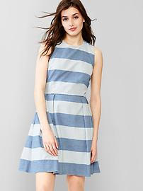 1969 stripe chambray fit & flare dress