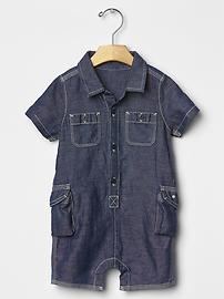 Linen denim cargo one-piece
