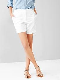 Boyfriend roll-up linen shorts