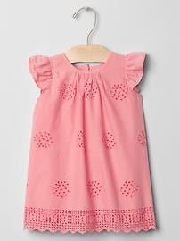 Multi-eyelet flutter dress