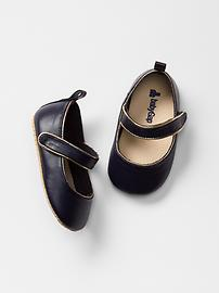 Faux leather mary janes flats