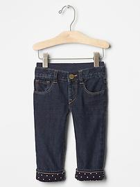 Lined pull-on straight jeans