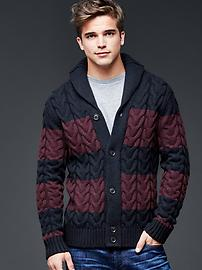 Lambswool shawlneck rugby cable cardigan