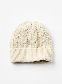 Cable-knit sweater beanie