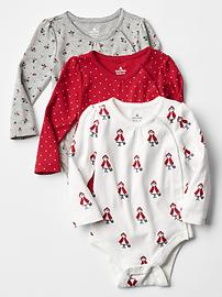 LIttle red printed bodysuit (3-pack)