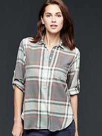 Flannel roll-sleeve henley