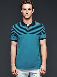 Top stripe pique polo
