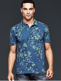 Lived-in allover floral print polo