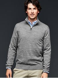Merino half-zip slub sweater