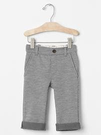 Pull-on french terry knit pants