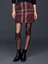 Wool plaid zip mini skirt