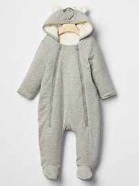Double zip bear hoodie footed one-piece