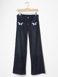 1969 butterfly embroidered flare jeans