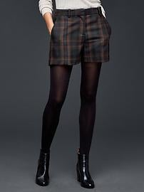 Plaid wool tailored shorts