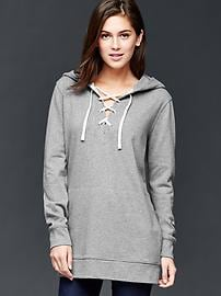 Lace-up tunic hoodie