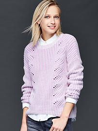 Marled open-knit cable sweater