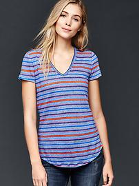 Multi stripe linen tee