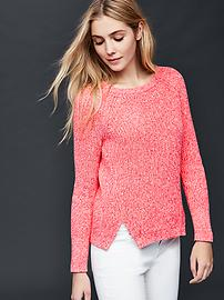 Marled high slits sweater