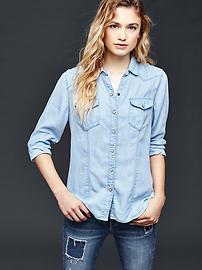 Chambray slim western shirt