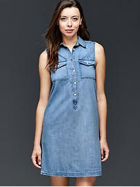 1969 denim sleeveless shirtdress