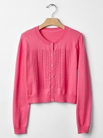 Pointelle front cardigan