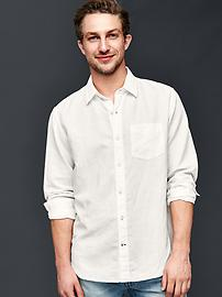 Solid linen-cotton shirt