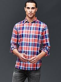 Plaid linen-cotton shirt