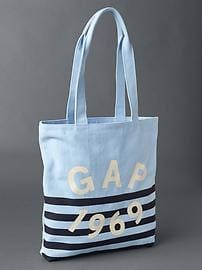Small logo stripe tote bag