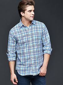 Gingham linen-cotton shirt