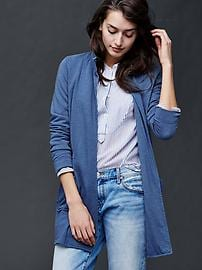 French terry open front jacket
