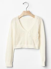 Pointelle wrap sweater