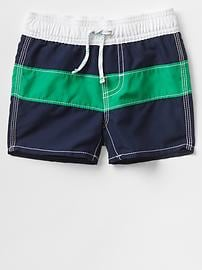 Bold stripe swim trunks