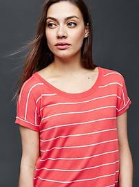 Stripe short sleeve dolman tee