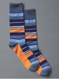 Placed stripe crew socks