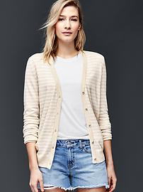 Cotton stripe V-neck cardigan