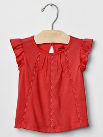 Lace-trim flutter top